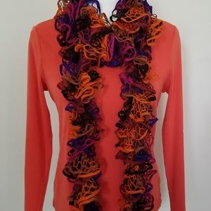 Colorful Ruffle Scarf Hand Crocheted